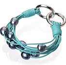 Fashion Multilayer 10-11mm Natural Black Freshwater Pearl And Blue Leather Bracelet With Double-Ring Clasp