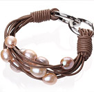 Fashion Multilayer 10-11mm Natural Pink Freshwater Pearl And Brown Leather Bracelet With Double-Ring Clasp