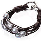 Popular Multi Strands Natural 10-11mm Gray Freshwater Pearl And Dark Brown Leather Bracelet With Double-Ring Clasp