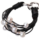 Fashion Multilayer 10-11mm Natural White Freshwater Pearl And Black Leather Bracelet With Double-Ring Clasp
