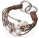 Fashion Multilayer 10-11mm Natural White Freshwater Pearl Silver Round Beads And Brown Leather Bracelet With Double-Ring Clasp