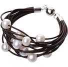 Fashion Multilayer 10-11mm Natural White Freshwater Pearl And Dark Brown Leather Bracelet With Magnetic Clasp