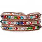 Lovely Multilayer 4mm Colorful Manmade Crystal And Hand Knotted Brown Leather Wrap Bracelet