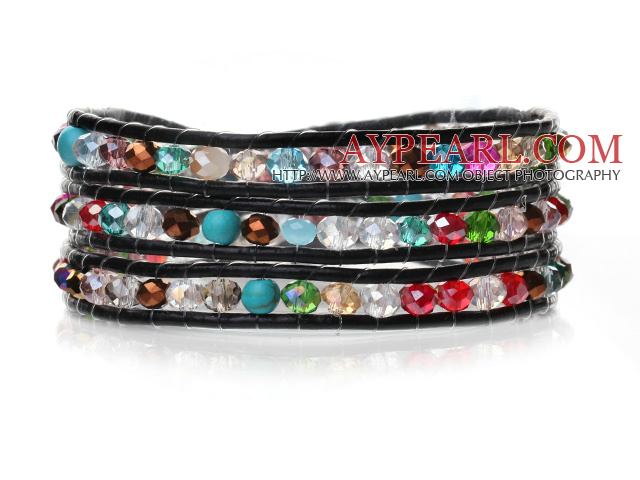 Lovely Multilayer 4mm Colorful Manmade Crystal And Hand Knotted Black Leather Wrap Bracelet
