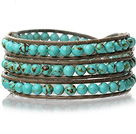 Lovely Multilayer 4mm Round Green Turquoise And Hand Knotted Brown Leather Wrap Bracelet
