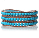 Lovely Multilayer 4mm Round Blue Turquoise And Hand Knotted Brown Leather Wrap Bracelet