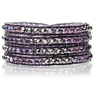 Härlig Multilayer 4mm Mixed Color Konstgjort Crystal And Handknuten Purple Leather Wrap Bracelet