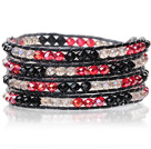 Lovely Multilayer 4mm Mixed Color Manmade Crystal And Hand Knotted Black Leather Wrap Bracelet