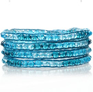 Lovely Multilayer 4mm Blue Series Manmade Crystal And Hand Knotted Blue Leather Wrap Bracelet