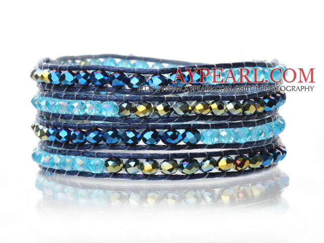 Lovely Multilayer 4mm Mixed Color Manmade Crystal And Hand Knotted Blue Leather Wrap Bracelet