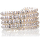 Pretty multi Natural 6 - 7mm hvit ferskvannsperle Beaded Wrap armbånd med Silver Rhinestone Charms