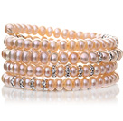 Pretty multi Natural 6 - 7mm Pink ferskvannsperle Beaded Wrap armbånd med Silver Rhinestone Charms