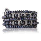 Pretty Multilayer Natural Mixed Size Black Freshwater Pearl Beaded Wrap Bracelet With Silver Rhinestone Charms