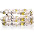 Pretty Three-Row Natural 6-7mm White Freshwater Pearl And Korea Jade Elastic Bracelet With Silver Rhinestone Charms