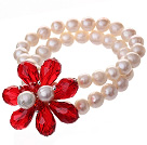 Fashion Double Strands Natural White Freshwater Pearl And Faceted Red Teardrop Crystal Flower Bangle Bracelet