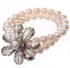Fashion Double Strands Natural White Freshwater Pearl And Faceted Gray Teardrop Crystal Flower Bangle Bracelet