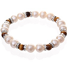 Wholesale Fashion Natural White Freshwater Pearl And Round Tiger Eye Beaded Elastic Bracelet With Silver Rhinestone Charms