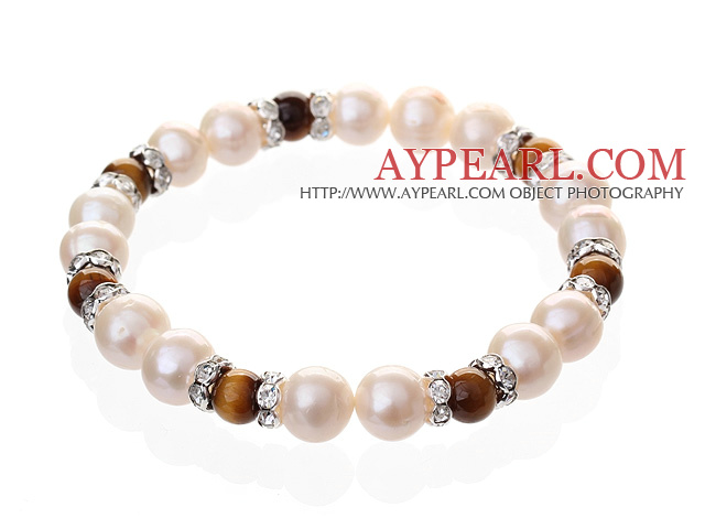 Fashion Natural White Freshwater Pearl And Round Tiger Eye Beaded Elastic Bracelet With Silver Rhinestone Charms