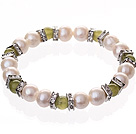 Fashion Natural White Freshwater Pearl And Round Yellow Olive Beaded Elastic Bracelet With Silver Rhinestone Charms