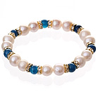 Fashion Natural White Freshwater Pearl And Round Blue Agate Beaded Elastic Bracelet With Gold Rhinestone Charms