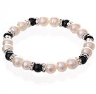 Fashion Natural White Freshwater Pearl And Round Black Agate Beaded Elastic Bracelet With Silver Rhinestone Charms