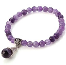 Wholesale Fashion Simple Style Round Amethyst Elastic Bracelet With Tube Flower Charm Pendant