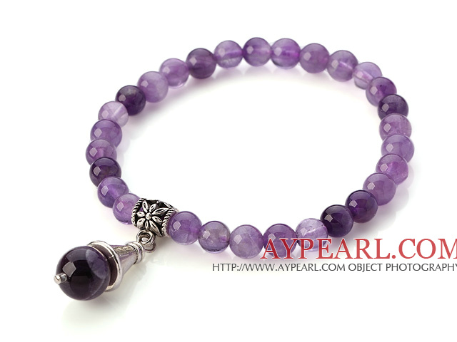 Fashion Simple Style Round Amethyst Elastic Bracelet With Tube Flower Charm Pendant
