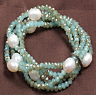 Fashion Multilayer Natural White Freshwater Pearl And Jade Like Crystal Stretch Bracelet