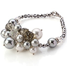 Nice Cluster White And Gray Seashell Pearl And Manmade Crystal Bracelet With Lobster Clasp
