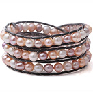Fashion Multilayer Natural White Pink And Purple Freshwater Pearl Black Leather Wrap Bracelet