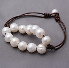 Popular Natural 10-11mm Layer White Freshwater Pearl And Brown Leather Bracelet