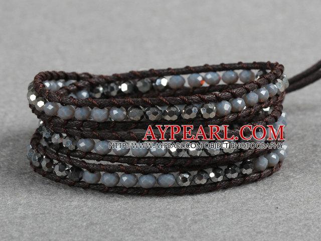 Fashion Style Gray Series Crystal Beads Three Times Wrap Bangle Bracelet