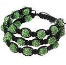 Popular Multilayer Green Round Polymer Clay Rhinestone And Braided Black Drawstring Bracelet