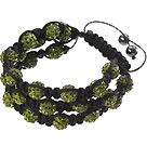 Popular Multilayer Yellow Olive Round Polymer Clay Rhinestone And Braided Black Drawstring Bracelet