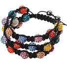 Popular Multilayer Colorful Round Polymer Clay Rhinestone And Braided Black Drawstring Bracelet