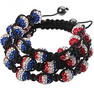 Popular Multilayer Combination Colorful Round Polymer Clay Rhinestone And Braided Black Drawstring Bracelet