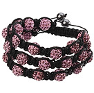 Popular Multilayer Pink Round Polymer Clay Rhinestone And Braided Black Drawstring Bracelet