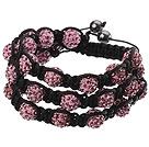 Popular Multilayer Pink Round Polymer Clay Rhinestone And Braided Black Drawstring Bracelet