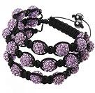 Popular Multilayer Purple Round Polymer Clay Rhinestone And Braided Black Drawstring Bracelet