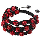 Popular Multilayer Red Round Polymer Clay Rhinestone And Braided Black Drawstring Bracelet