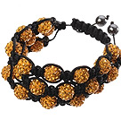 Popular Multilayer Orange Yellow Round Polymer Clay Rhinestone And Braided Black Drawstring Bracelet
