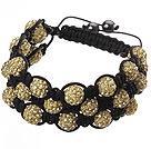 Popular Multilayer Earthy Yellow Round Polymer Clay Rhinestone And Braided Black Drawstring Bracelet