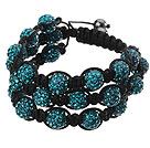 Popular Multilayer Blue Round Polymer Clay Rhinestone And Braided Black Drawstring Bracelet
