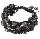 Popular Multilayer Blackish Grey Round Polymer Clay Rhinestone And Braided Black Drawstring Bracelet