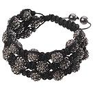 Popular Multilayer Blackish Grey Round Polymer Clay Rhinestone And Braided Black Drawstring Bracelet