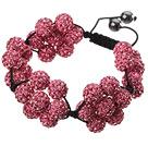 Popular Pink Round Polymer Clay Rhinestone Five Combination Flowers And Braided Black Drawstring Bracelet