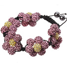 Popular Pink And Yellow Round Polymer Clay Rhinestone Five Combination Flowers And Braided Black Drawstring Bracelet