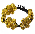 Popular Yellow Round Polymer Clay Rhinestone Five Combination Flowers And Braided Black Drawstring Bracelet