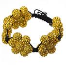 Popular Yellow Round Polymer Clay Rhinestone Five Combination Flowers And Braided Black Drawstring Bracelet