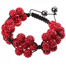 Popular Red Round Polymer Clay Rhinestone Five Combination Flowers And Braided Black Drawstring Bracelet